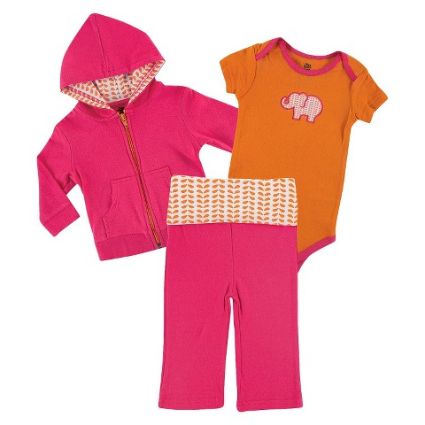 Yoga Sprout™ Newborn Girls' Bodysuit and Pant Set - Pink/Orange