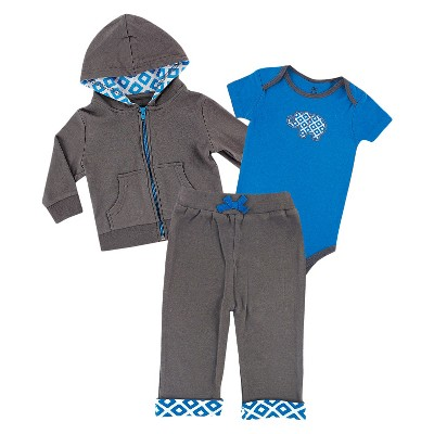 Yoga Sprout™ Newborn Boys' Bodysuit and Pant Set - Grey/Blue 0-3 M