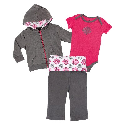 Yoga Sprout™ Newborn Girls' Bodysuit and Pant Set - Grey/Pink 0-3 M