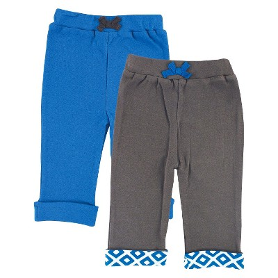 Yoga Sprout™ Newborn Boys' 2 Pack Yoga Pants - Grey/Blue 6-9 M