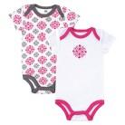 Yoga Sprout™ Newborn Girls' 2 Pack Bodysuit - Grey/Pink