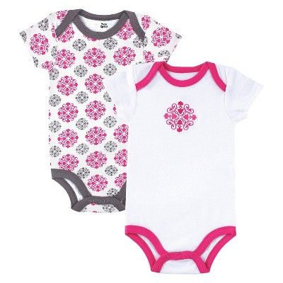 Yoga Sprout™ Newborn Girls' 2 Pack Bodysuit - Grey/Pink 0-3 M