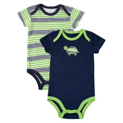 Yoga Sprout™ Newborn Boys' 2 Pack Bodysuit - Navy/Green 0-3 M