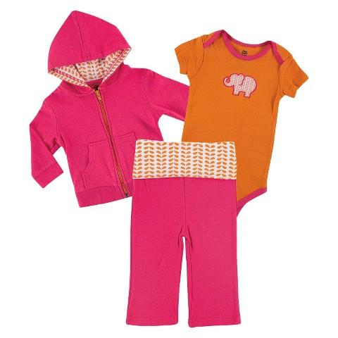 Yoga Sprout™ Newborn Girls' Bodysuit and Pant Set - Pink/Orange