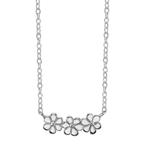 Footnotes Sterling Silver Triple Flower Station Necklace - Silver