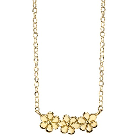 Footnotes Sterling Silver Triple Flower Station Necklace - Gold