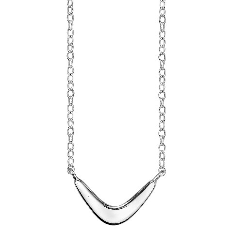 Footnotes Sterling Silver Boomerang Station Necklace - Silver