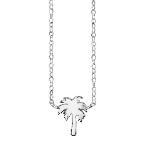 Footnotes Sterling Silver Palm Tree Station Necklace - Silver