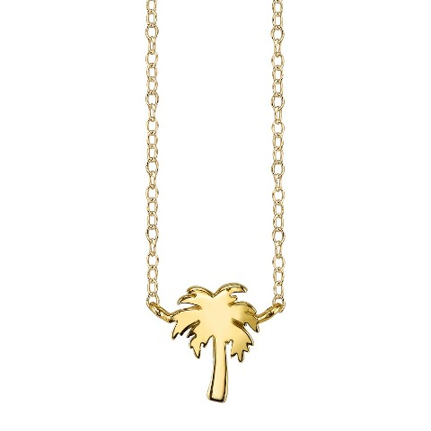 Footnotes Sterling Silver Palm Tree Station Necklace - Gold