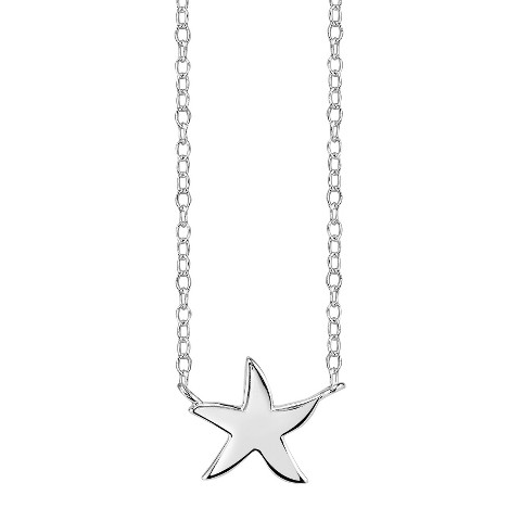 Footnotes Sterling Silver Starfish Station Necklace - Silver