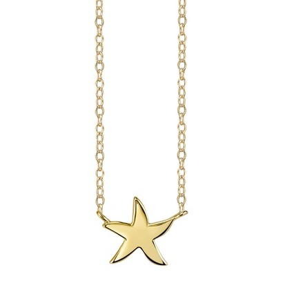 Footnotes Sterling Silver Starfish Station Necklace - Gold