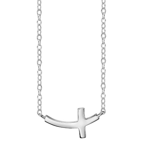 Footnotes Sterling Silver Curved Cross Station Necklace - Silver