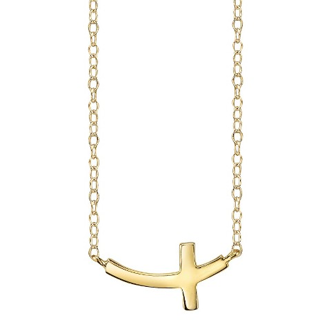 Footnotes Sterling Silver Curved Cross Station Necklace - Gold