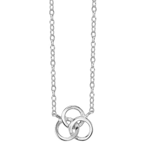 Footnotes Sterling Silver Triple Linked Circles Station Necklace- Silver