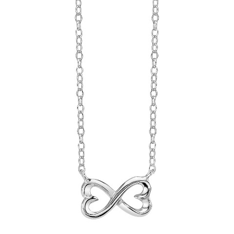 Footnotes Sterling Silver infinity Heart Station Necklace- Silver