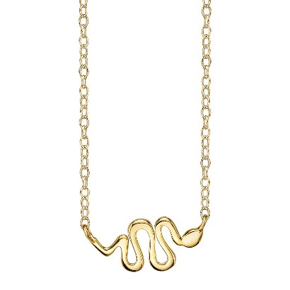 Footnotes Sterling Silver Snake Station Necklace - Gold
