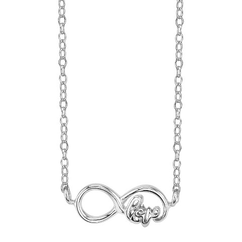 Footnotes Sterling Silver Love Infinity Station Necklace - Silver