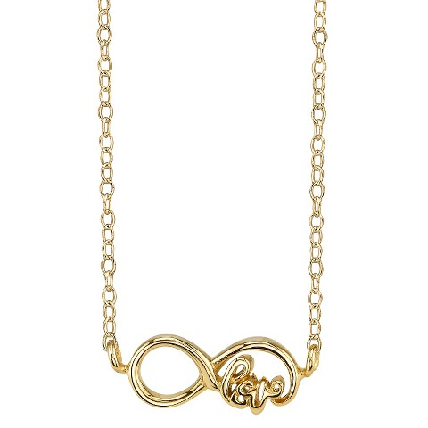 Footnotes Sterling Silver Love Infinity Station Necklace - Gold