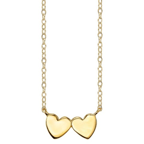 Footnotes Sterling Silver Side By Side Heart Station Necklace - Gold
