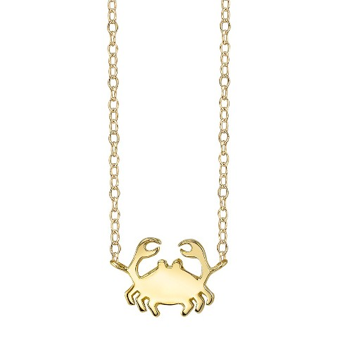 Footnotes Sterling Silver Crab Station Necklace - Gold