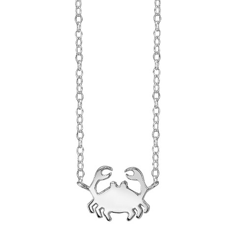 Footnotes Sterling Silver Crab Station Necklace - Silver