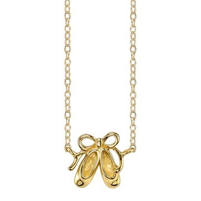 Footnotes Sterling Silver Ballerina Shoes Station Necklace - Gold