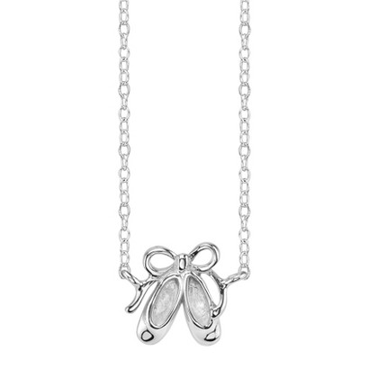 Footnotes Sterling Silver Ballerina Shoes Station Necklace - Silver