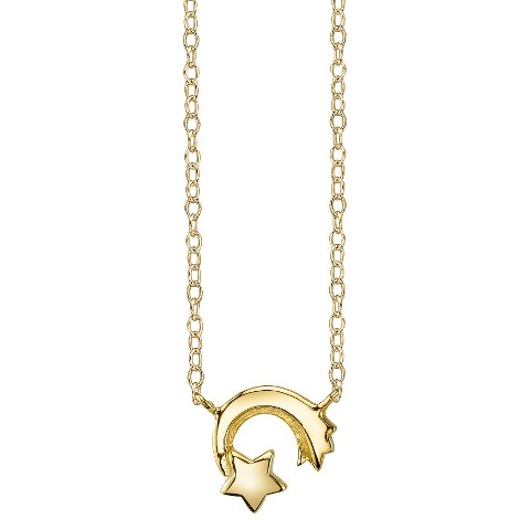 Footnotes Sterling Silver Shooting Star Station Necklace - Gold