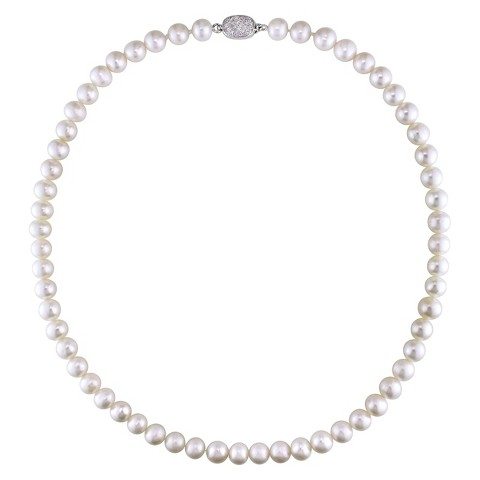 """8-8.5mm Off Round Freshwater Pearl Necklace with Sterling Silver and Cubic Zirconia - 18"""""""