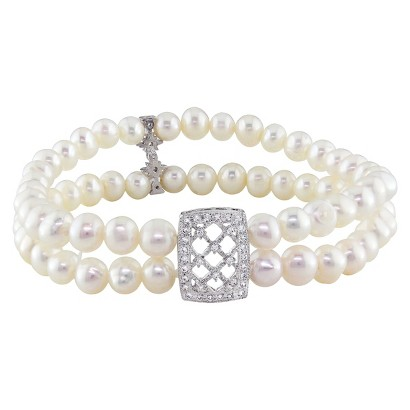 Cubic Zirconia and Round Freshwater Pearl 2-Strand Stretch Bracelet in Sterling Silver (5mm)