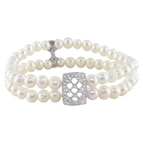 Allura  Cubic Zirconia and Round Freshwater Pearl 2-Strand Stretch Bracelet in Sterling Silver (5mm)