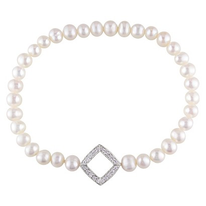 5-6mm Off Round Cultured Freshwater Pearl Stretch Bracelet with Sterling Silver and Cubic Zirconia