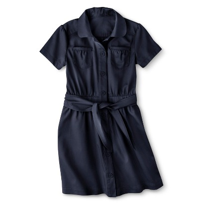 Cherokee® Girls' School Uniform Short-Sleeve Belted Safari Dress