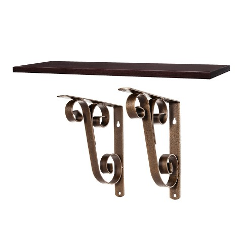"Threshold™ Shelf Board With Double Scroll Bracket Espresso/Bronze - 23"""