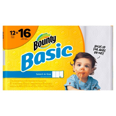 Bounty Basic Select-A-Size White Paper Towels 12 Big Rolls