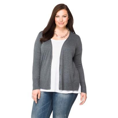 Women's Plus Size Long Sleeve Cardigan Sweater Gray X