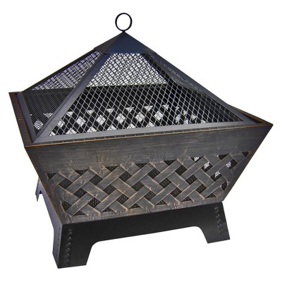 "Landmann Barrone 26"" Firepit with Cover in Antique Bronze"
