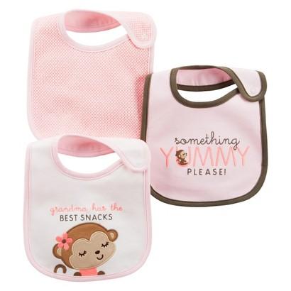 Just One You™Made by Carter's® Newborn Girls' Monkey 3 Pack Bib Set - Pink