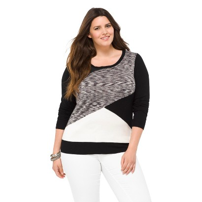 Women's Plus Size Crew Neck Pullover Sweater Space Dye-Mossimo