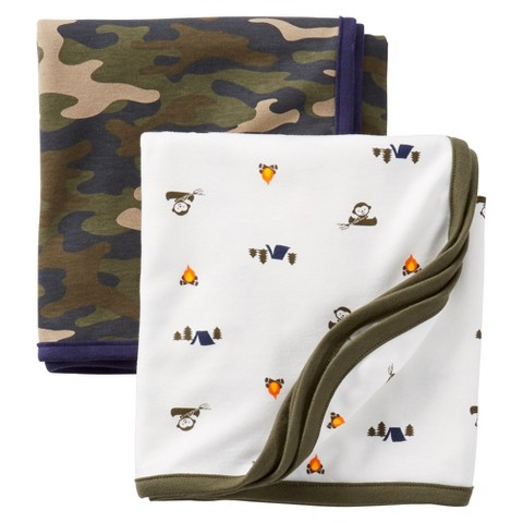 Just One You™Made by Carter's® Newborn Boys' 2 Pack Swaddle Blanket Set - Camo/White