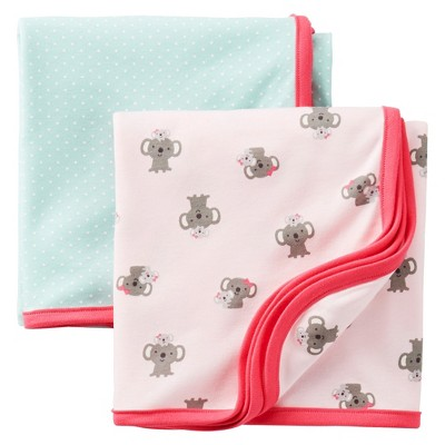 Just One You™Made by Carter's® Newborn Girls' 2 Pack Swaddle Blanket Set - Pink/Turquoise