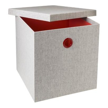 Room Essentials™ Metal Grommet Bin - Set of 2- Gray w/ Orange