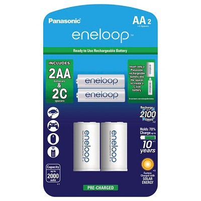 "Panasonic eneloop AA 2100 cycle, Ni-MH Pre-Charged Rechargeable Batteries - 2 Pack with 2 ""C"" Spacers"
