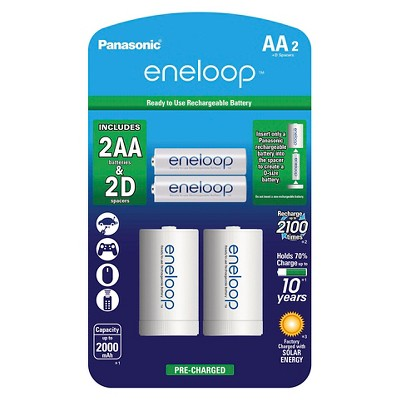 "Panasonic eneloop AA 2100 cycle, Ni-MH Pre-Charged Rechargeable Batteries - 2 Pack with 2 ""D"" Spacers"