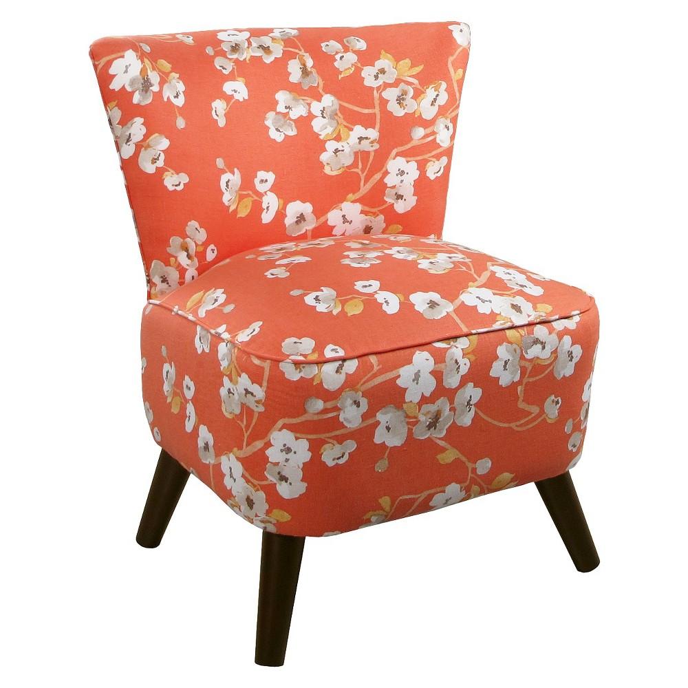 Armless: Accent Chair: Upholstered Chair: Skyline Custom Upholstered Mid Century Modern Armless Chair, Sakura Kumquat