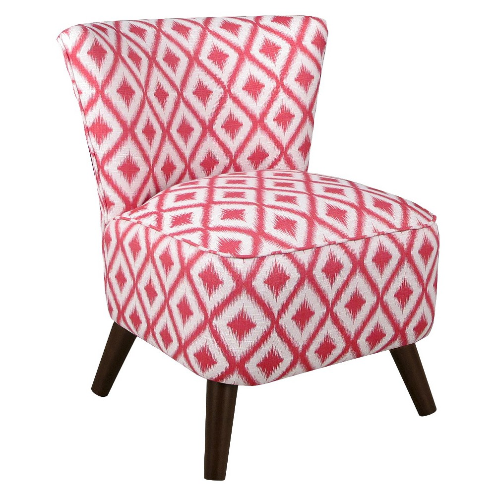 Armless: Accent Chair: Upholstered Chair: Skyline Custom Upholstered Mid Century Modern Armless Chair, Ikat Fret Raspberry