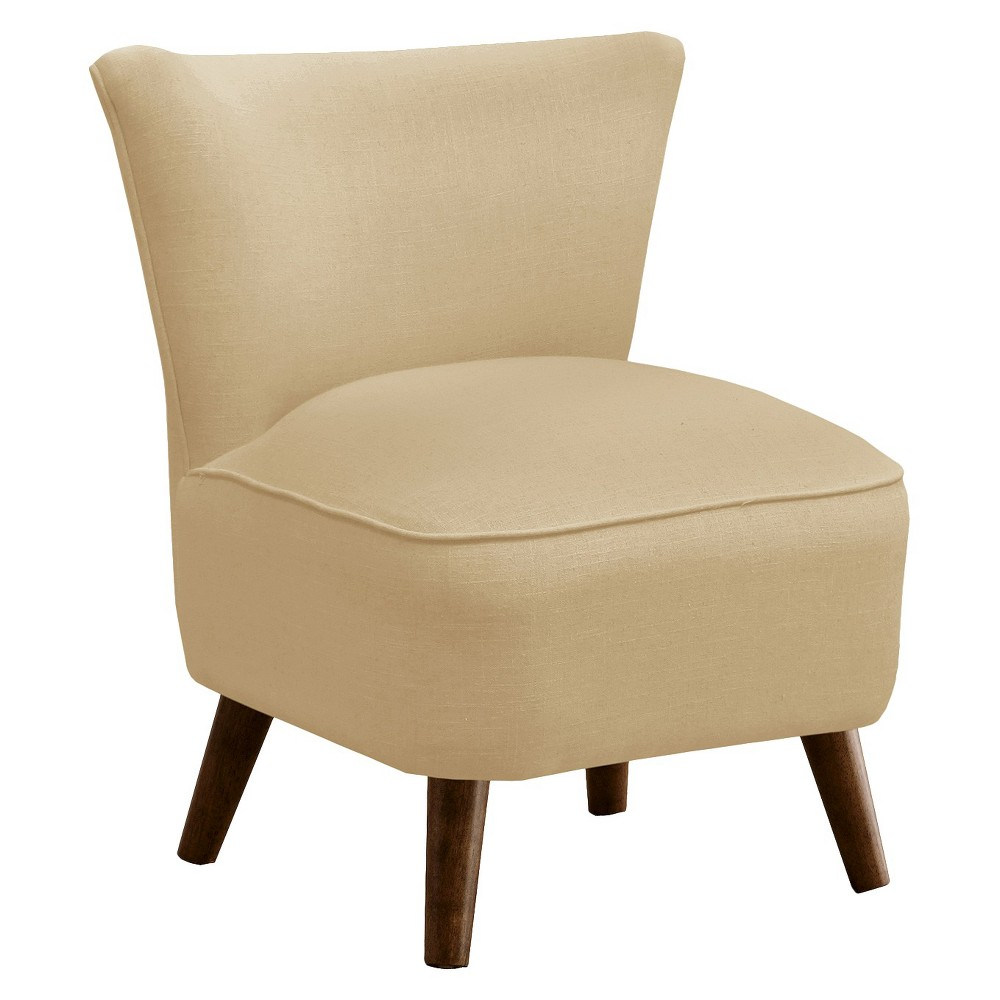 Armless: Accent Chair: Upholstered Chair: Skyline Custom Upholstered Mid Century Modern Armless Chair, Linen Sandstone