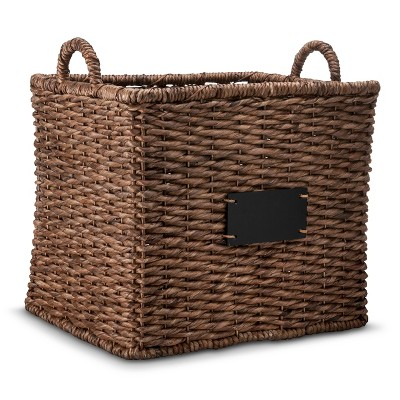 Square Decorative Basket with Chalkboard - Dark Finish - Smith & Hawken™