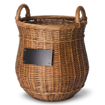 Smith & Hawken™ Round Decorative Basket with Chalkboard- Dark Brown