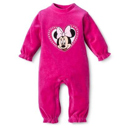 Disney® Newborn Girls' Velour Minnie Mouse Coverall - Pink